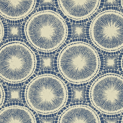 Tree circles Indigo/Linen